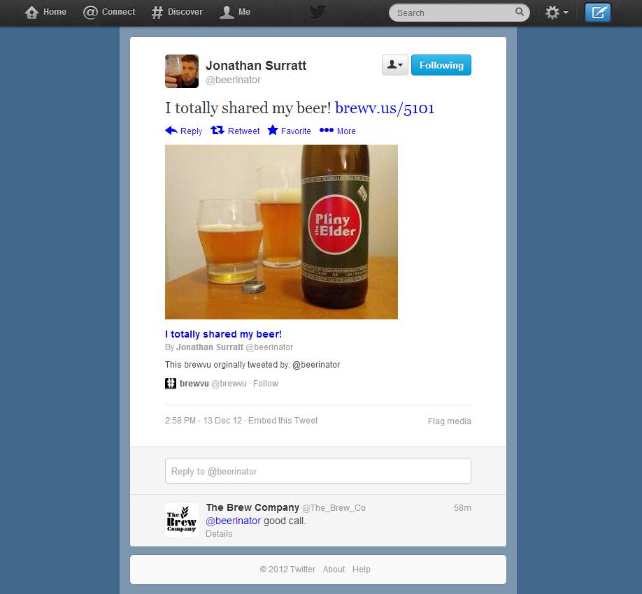 Twitter card example | brewvu